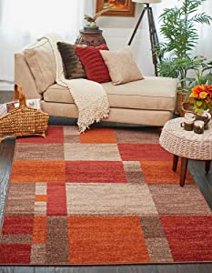 Unique Loom Autumn Collection Checkered Abstract Casual Warm Toned Multi Area Rug (5' 0 x 8' 0)