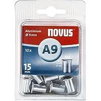 Novus blindklinkmoer Ø9 mm aluminium, M6 schroefdraad, 15 mm lengte, 10x klinkmoer, voor kunststof en lichtgewicht…