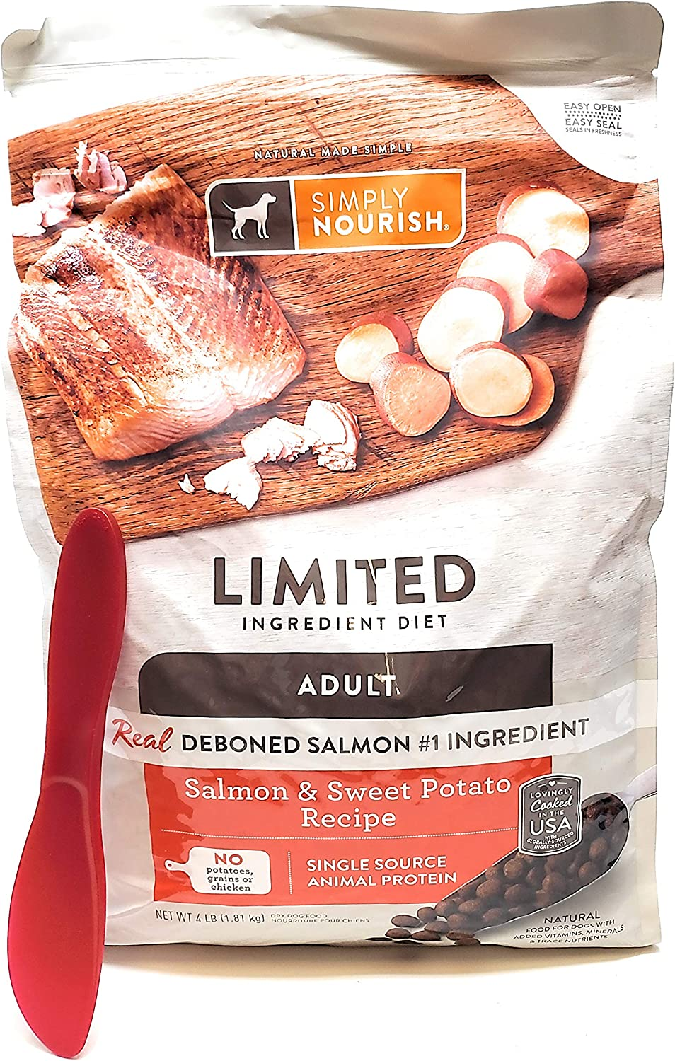 SIMPLY NOURISH 4 Four POUNDS Adult Salmon and Sweet Potato Dry Dog Food and Especiales Cosas Mixing Spatula