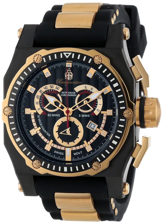 Burgmeister BM157-622B - Reloj analógico de Cuarzo para Hombre con Correa de Silicona, Color Negro