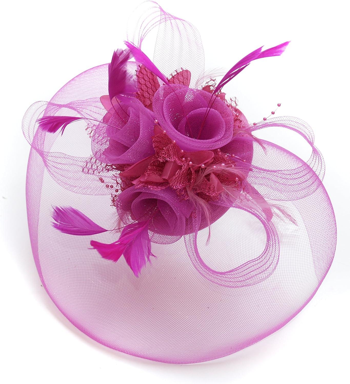 Big Fuchsia Hot Pink Fascinator Veil Hat Wedding Ascot Races Headband Clip