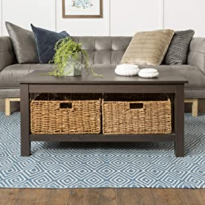WE Furniture AZ40MSTES Rustic Wood Rectangle Coffee Accent Table Storage Baskets Living Room, 40 Inch, Espresso