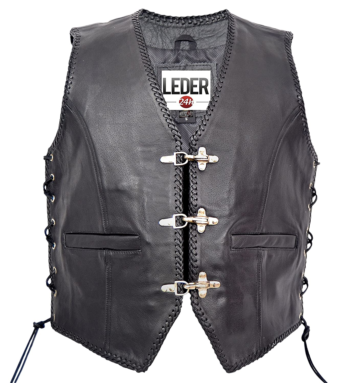 LEDER24H Chaleco DE Cuero Negro Moto Biker Rocker 1050-SP