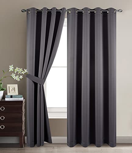 BETTER HOME USA BHU Three Pass Microfiber Noise Reducing Thermal Insulated Solid Ring Top Blackout Window Curtains Drapes Two Panels, 52 x 96 Inch, Dark Gray