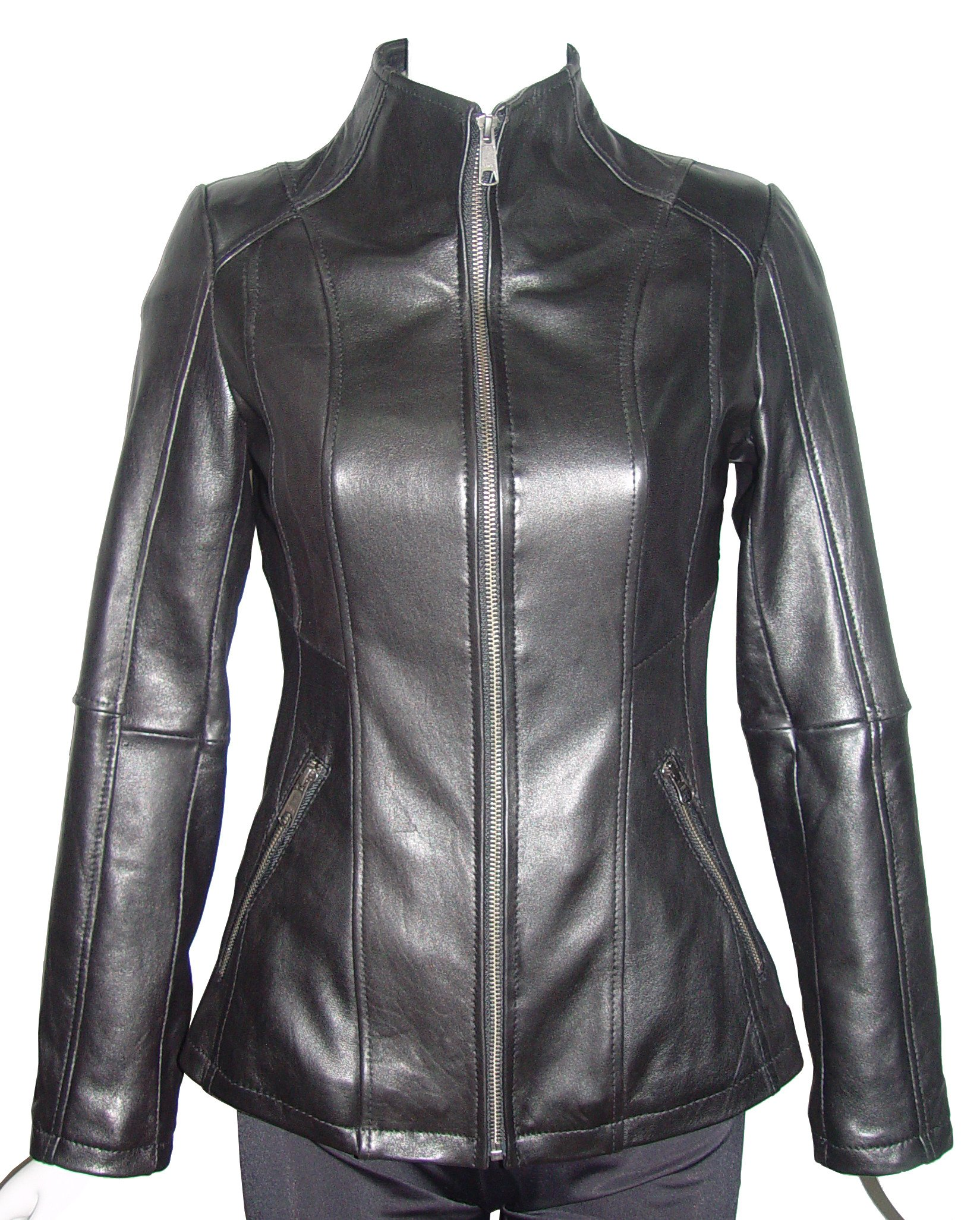 Paccilo Women Larger PLUS & ALL SIZE 4157 Leather Motorcycle Jacket Silky Lining