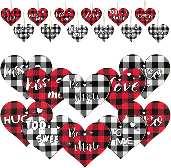 Heart Shaped Gift with Plaid and Pine Cones~Farmhouse style front door wreath with lambs ear~ Buffalo check black and white