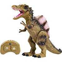 Remote Control Dinosaur Toy for Kids with Roaring Sounds and Smoking Breath. RC Spinosaurus Dino with Glowing Eyes, Walking Movement, Shaking Head.