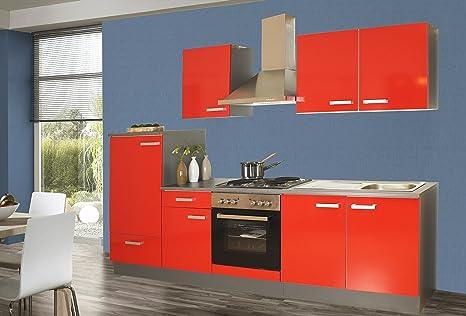 Küchenzeile 270 cm Komplett Küche rot mit Kühlschrank Herd Backofen ...