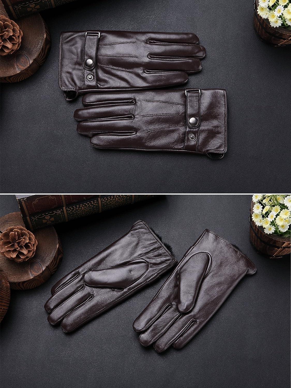 FLY HAWK Winter Handschuhe aus Echtem Leder Herren Lederhandschuhe f/ür Touch Screen geeignet warm gef/ütterte klassische Handschuhe mit Druckknopfverschluss Geschenk-Verpackung Schwarz//Braun