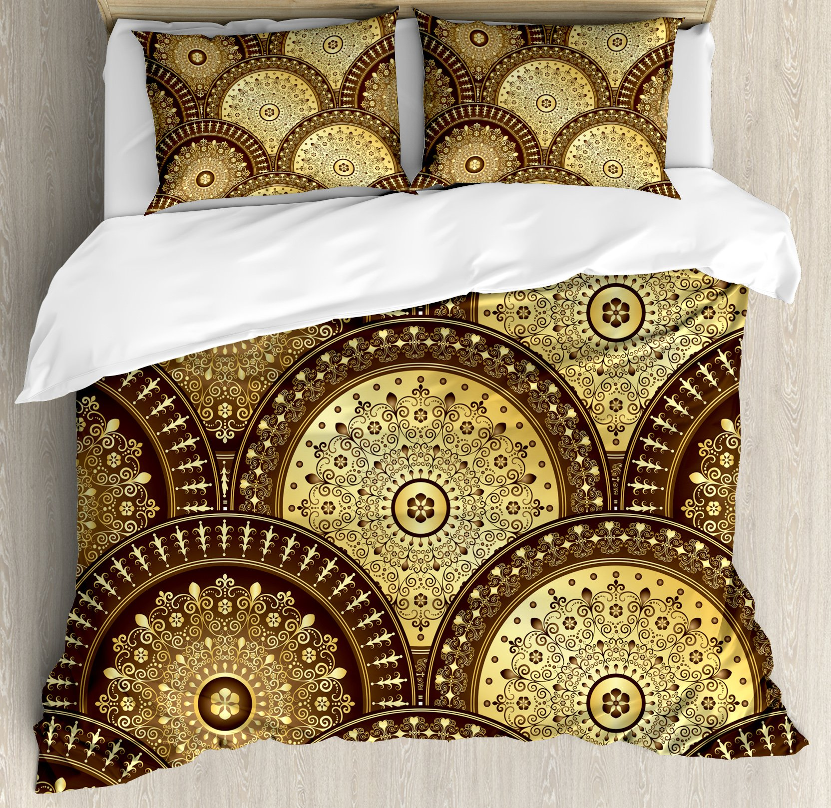 Gold Mandala King Size Duvet Cover Set by Ambesonne, India Culture Motifs Lapping Over Romantic Medallion Like Wavy Pattern, Decorative 3 Piece Bedding Set with 2 Pillow Shams, Gold and Brown