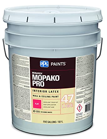 Latex Paint, Bone White, Flat, 5 Gal, Mopako, Interior Paint For
