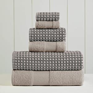 Amrapur Overseas 6-Piece Yarn Dyed Cobblestone Jacquard Towel Set, Charcoal