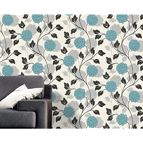 Blue flower wallpaper amazon belgravia dahlia flower pattern floral motif textured glitter wallpaper white blue 6721 mightylinksfo