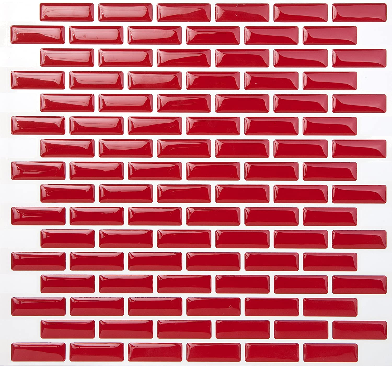 Tic Tac Tiles Peel contra salpicaduras de azulejos de moldes y enchufe de pared de ladrillo en Dise/ño 10 ladrillo rojo