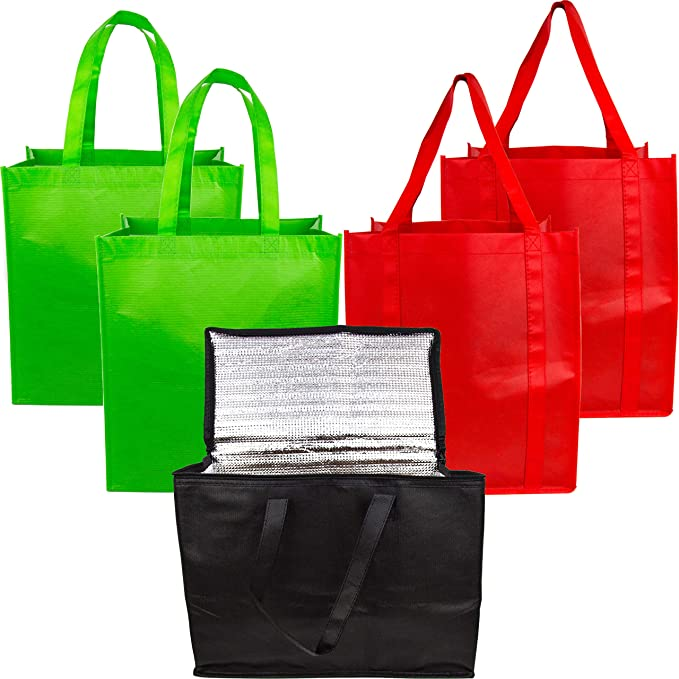 Reusable Grocery Shopping Bags – Variety Pack with Cooler