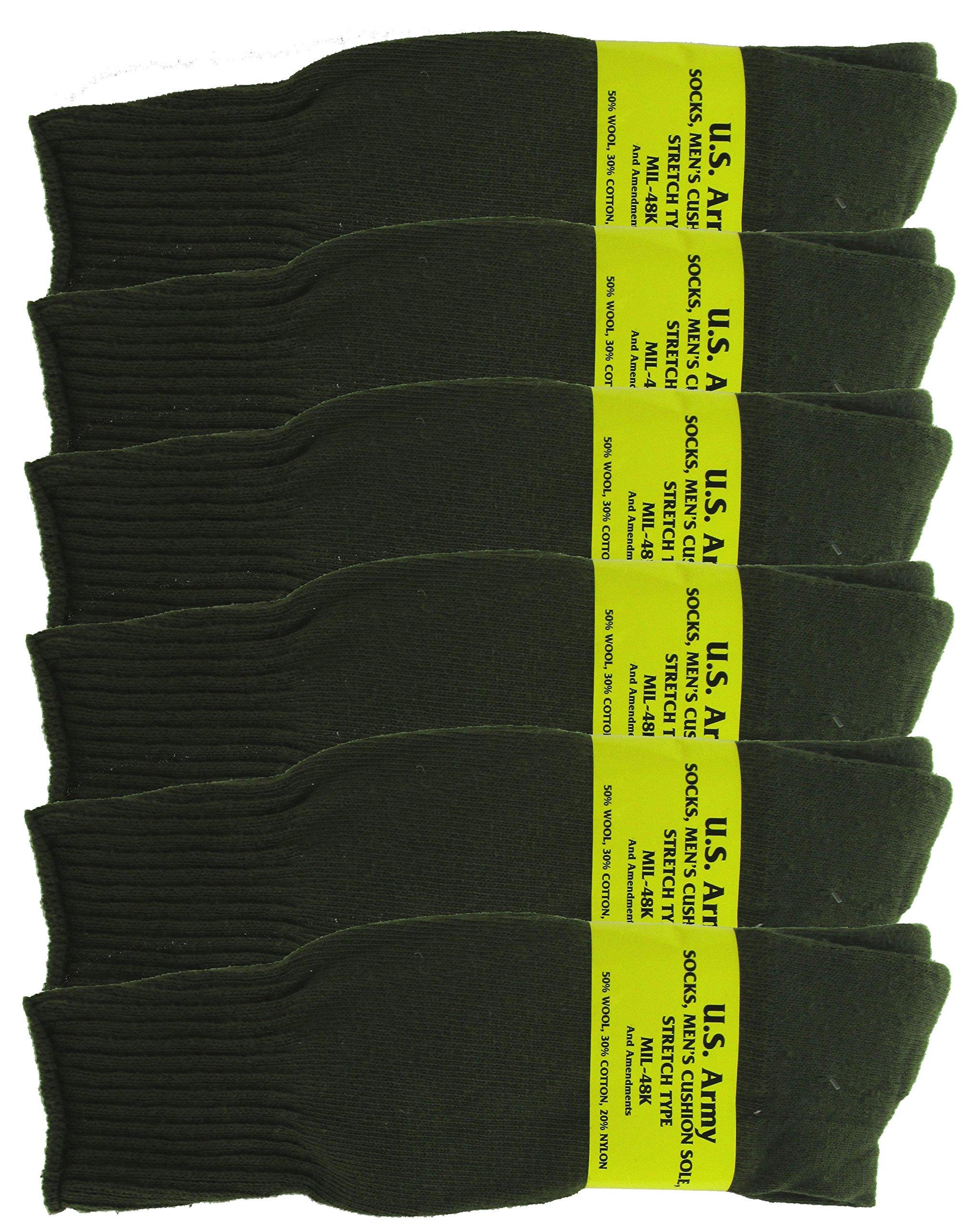 Olive Drab U.S. Army Sock Package - 6 PAIRS - Medium