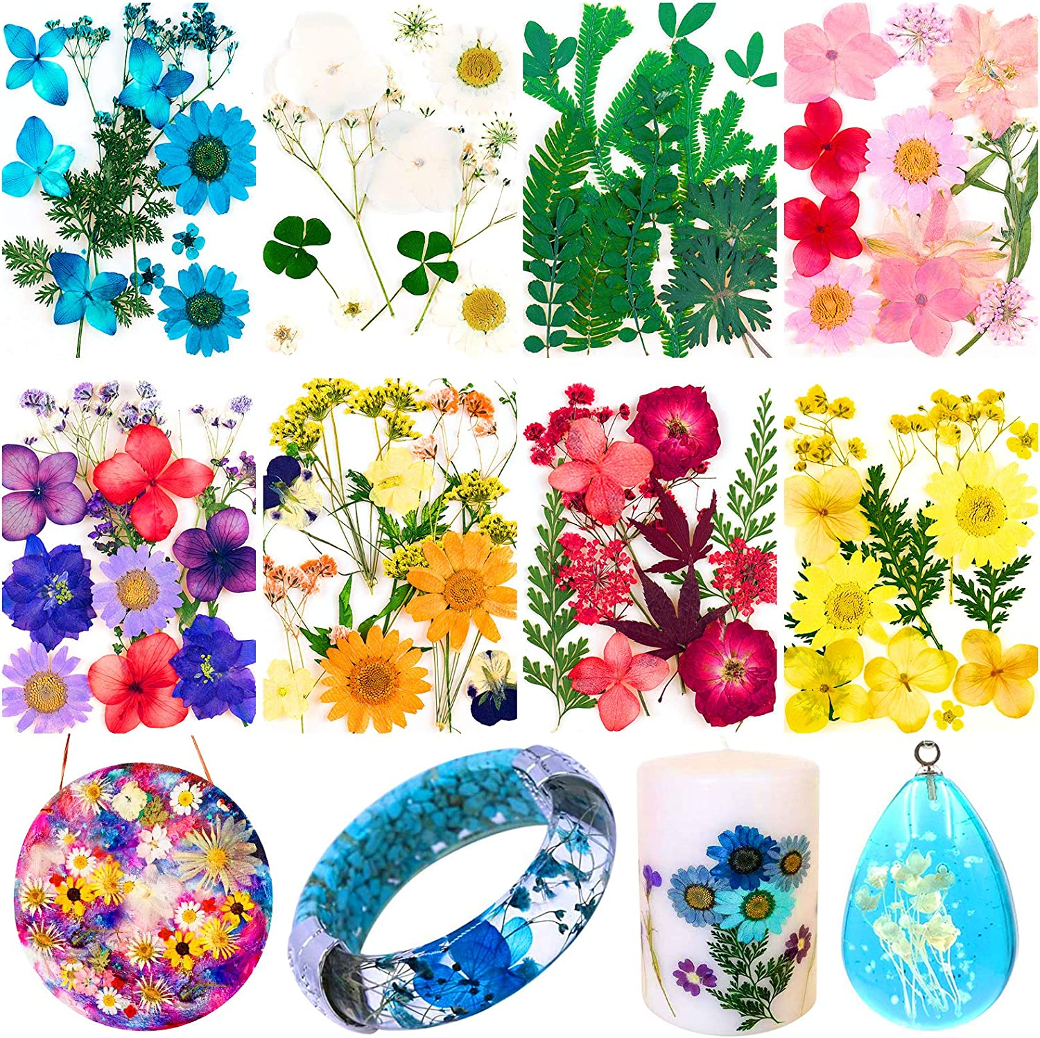 96PCS Real Dried Pressed Flowers, Dry Pressed Flowers for Resin Natural Pressed Flowers Leaves Colorful Dried Pressed Flowers for DIY Crafts Candle Jewelry Nail Pendant Making