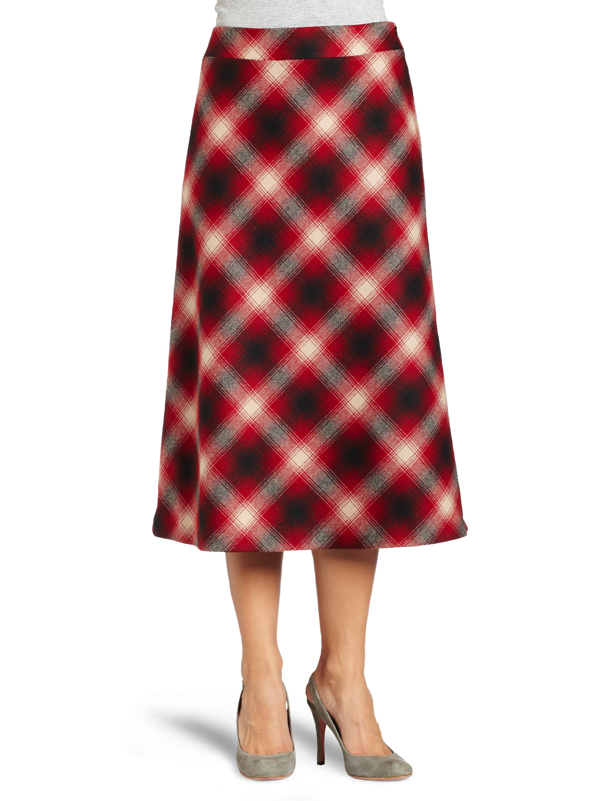 Pendleton Women's Bias Plaid Skirt, Black/Red Ombre Plaid, 18