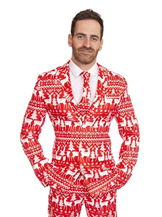 stag suits red reindeer christmas slim fit men 34 36 - Christmas Suits For Mens