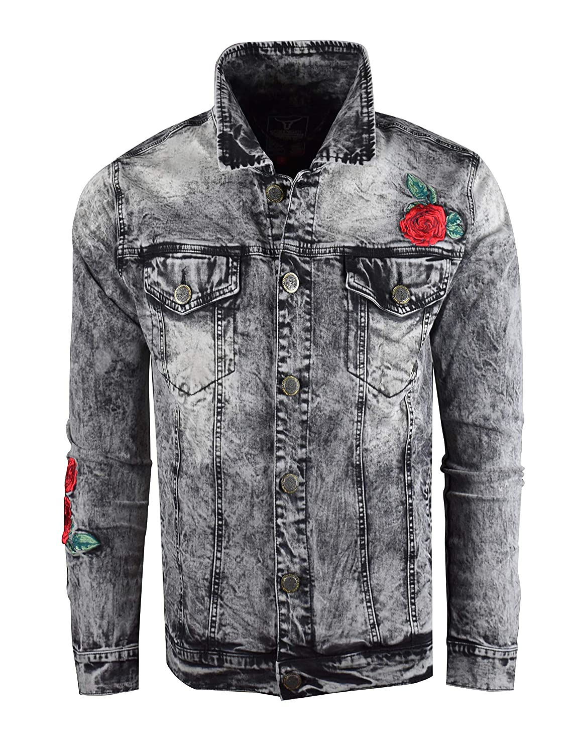 Screenshotbrand Men's Premium Distressed Denim Jacket - Skinny Fit with Side Pockets
