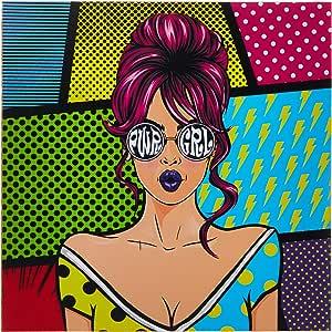 Quadro Decorativo Tipo Placa Pwr Grl Pop Art - 32.5 x 23 cm - Arte Maníacos, Rosa, Husky