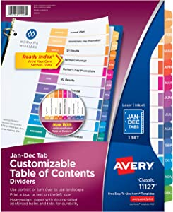 Avery Ready Index Monthly Dividers, Customizable Table of Contents, Classic Multicolor Tabs, 1 Set (11127)