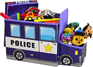 Toy Box for boys, KAP Police Car toy chest, Light Up LED Toy Box, Foldable Storage Basket/Organizer, toy bin, great for storing books, toys, stuffed animals and small game's. (rescue collection)