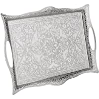 """Erbulus Silver Turkish Serving Tray with Handles - 10.23"""" x 14.17 - Decorative Table Centerpiece Tray and Kitchen…"""