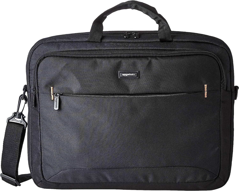 Amazon Basics - Funda compacta para portátil con correa para el hombro y bolsillos para guardar accesorios, (44cm), negro, 1 unidad