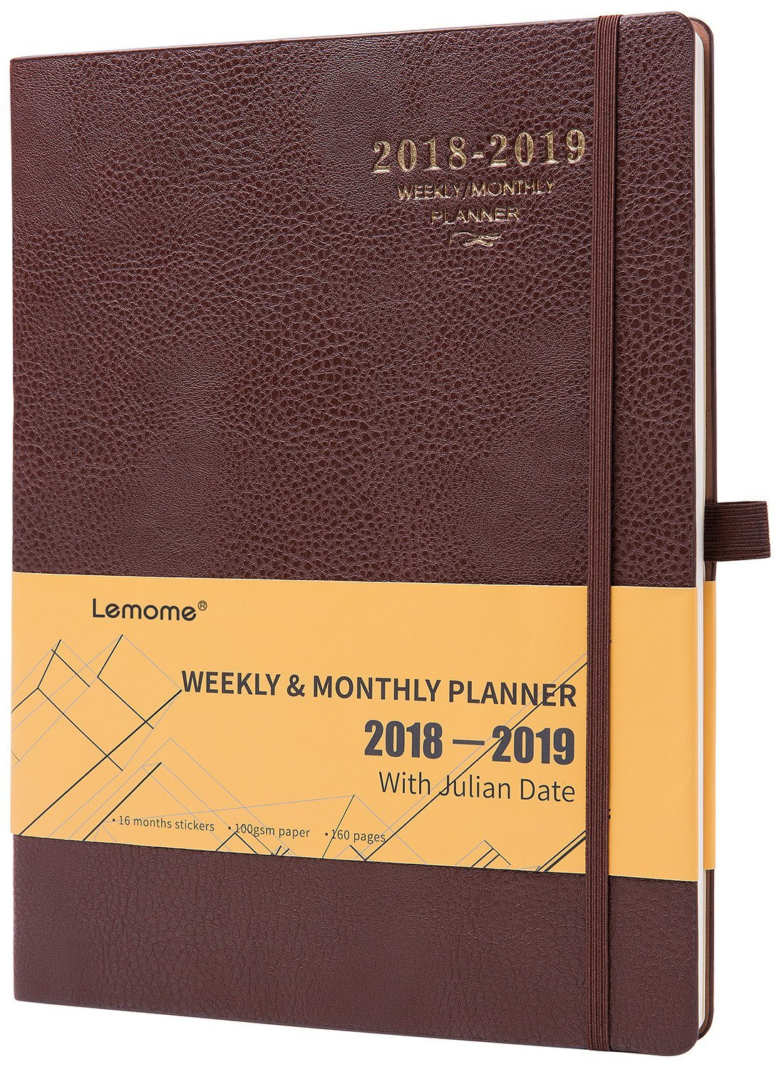 Planner 2018-2019 with Pen Holder -Academic Weekly, Monthly and Yearly Planner. Thick Paper to Achieve Your Goals & Improve Productivity, 8.5'' x 11'', Back Pocket with Julian Date
