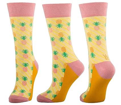 ec155c7750e7 Amazon.com: YoSox Women Crew Sock Pineapples - Crazy Cool Socks ...