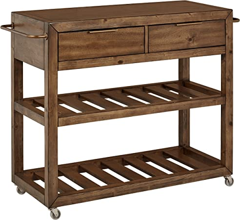 Stone & Beam Alejandra Unfinished Wood Kitchen Island Bar Cart with Wheels,  Brown