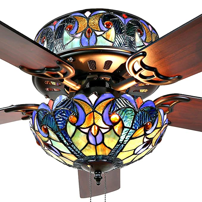 Com River Of Goods 16160s Tiffany Style Stained Glass Halston Ceiling Fan Blue Home Kitchen