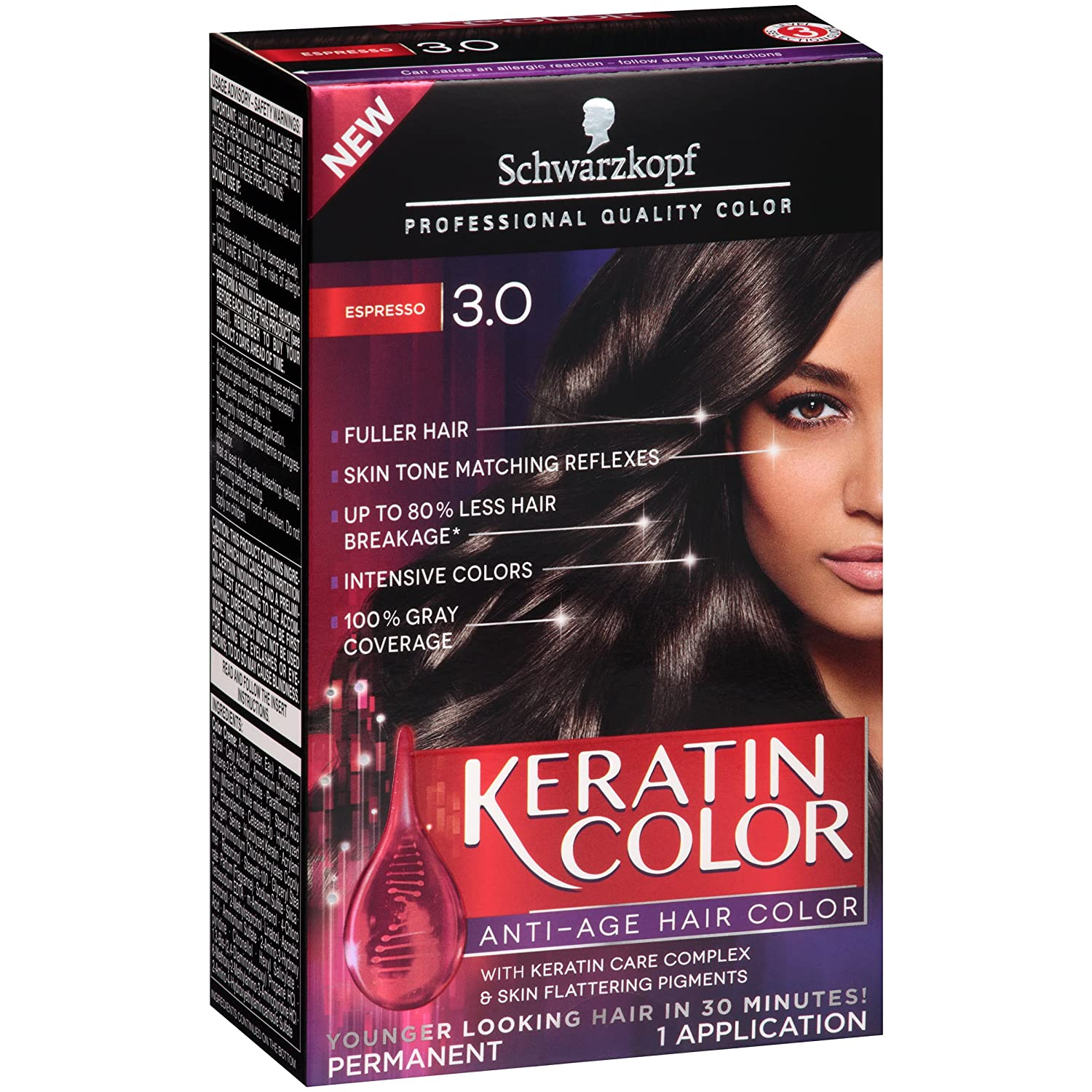 Amazon Schwarzkopf Keratin Color Anti Age Hair Color Kit 30
