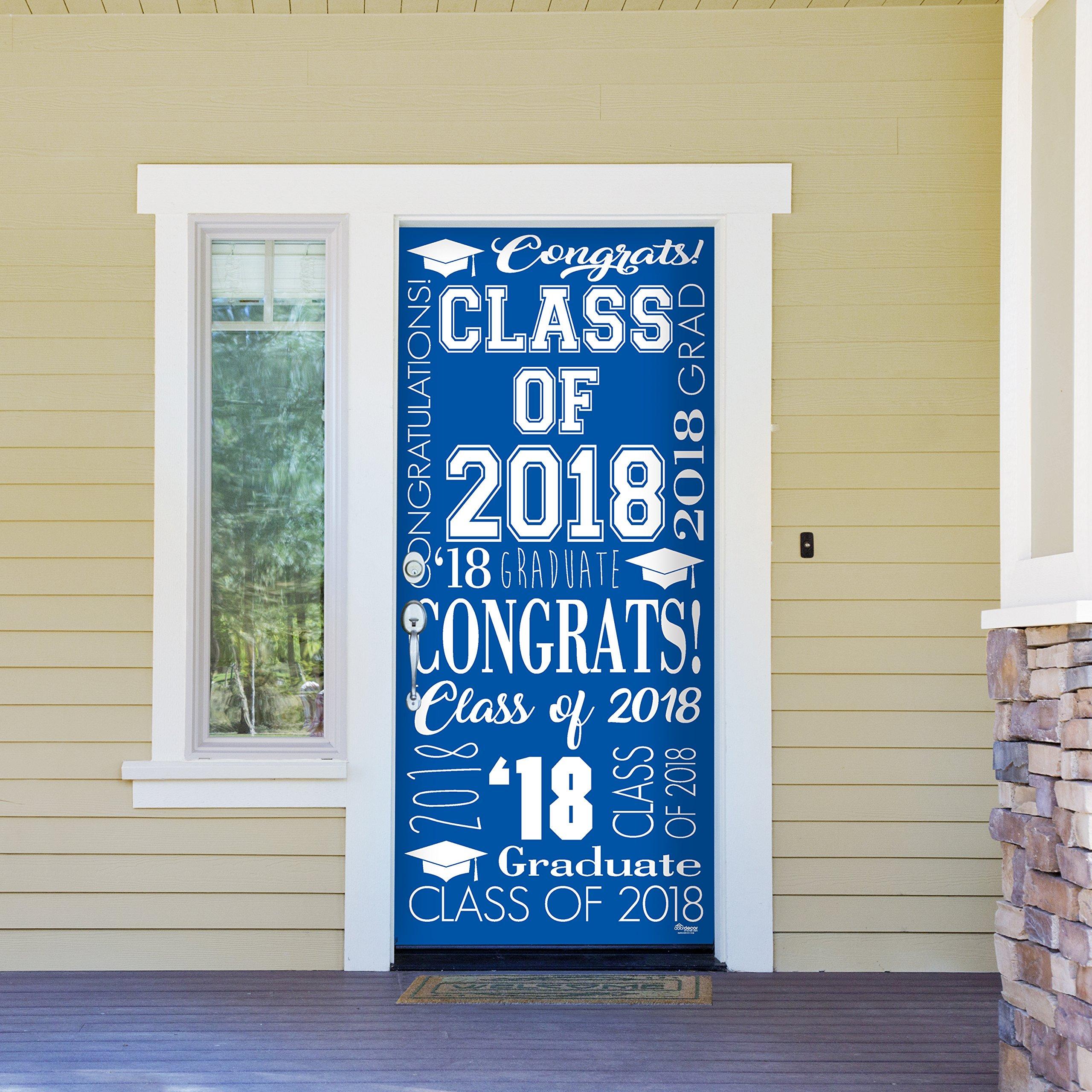 Victory Corps Collage Blue - Outdoor GRADUATION Garage Door Banner Mural Sign Décor 36'' x 80'' One Size Fits All Front Door Car Garage -The Original Holiday Front Door Banner Decor