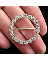 5 Pieces Circle Round Rhinestone Ribbon Slide Buckles for Clothing Accessory and Wedding Decoration 1.14 X 1.14 inches