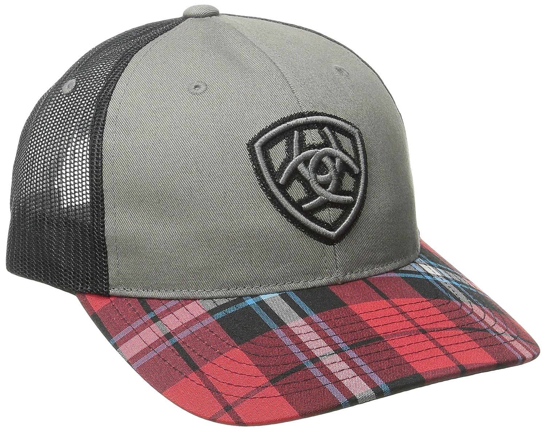 Ariatメンズ赤Plad Billブラックメッシュ帽子 One Size グレー B00MTAFW6G
