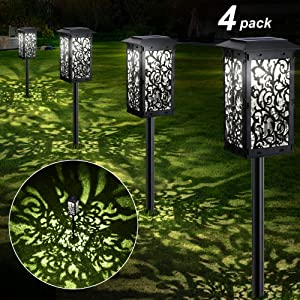 Solar Lights Outdoor, GRDE Upgraded Solar Pathway Garden Lights Super Bright 20 lumens& Longer Working Time IP65 Waterproof Landscape Lighting for Yard Patio Walkway Landscape Spike Path Light
