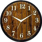 Cartoonpur Round Large Designer Decorative Wooden Look Wall Clock - Ticking 11-Inch Wall Clock,Black