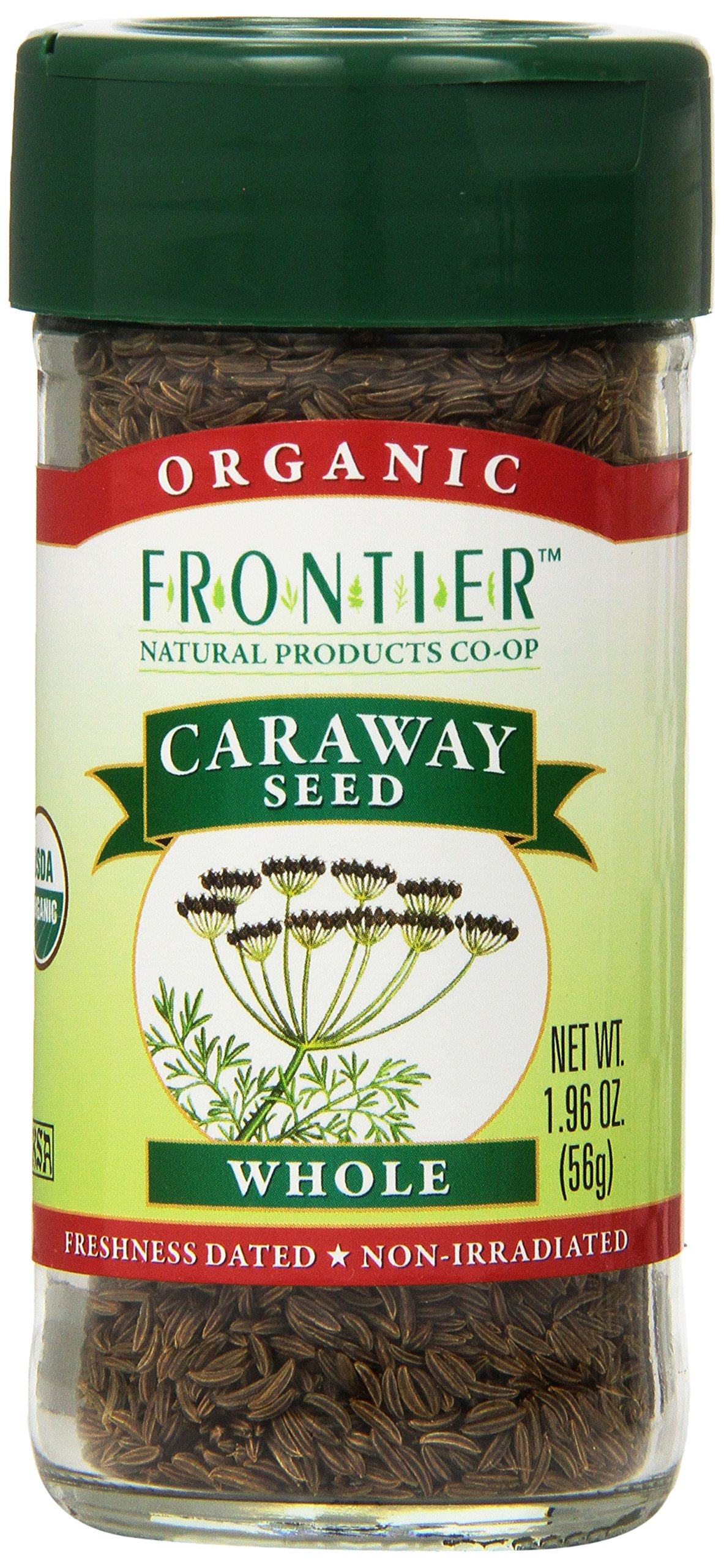 Frontier Organic Spices, Whole Caraway Seed, 1.96 Ounce (Pack of 4)