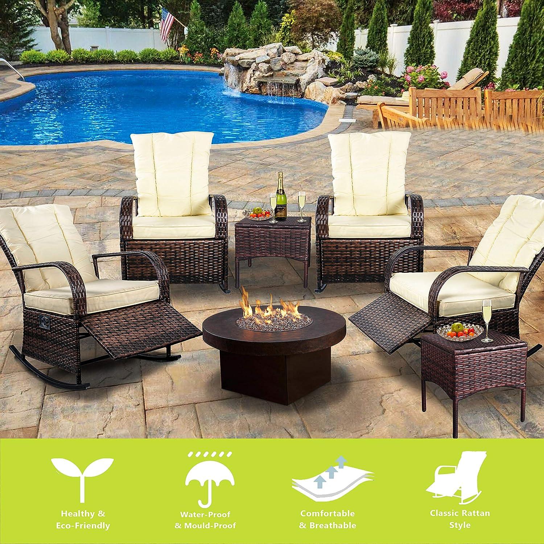 Blue Cushion Indoor /& Outdoor Reclining Chair-Porch Garden Lawn Deck Wicker Rocke Chair-Auto Adjustable Rattan Sofa w//Cushion
