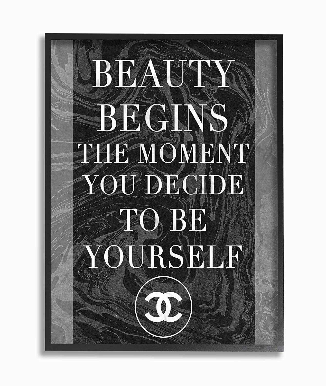 Multi-Color The Stupell Home Decor Beauty Begins Once You Decide to Be Yourself Black Marble Typography Framed Giclee Texturized Art 11 x 14