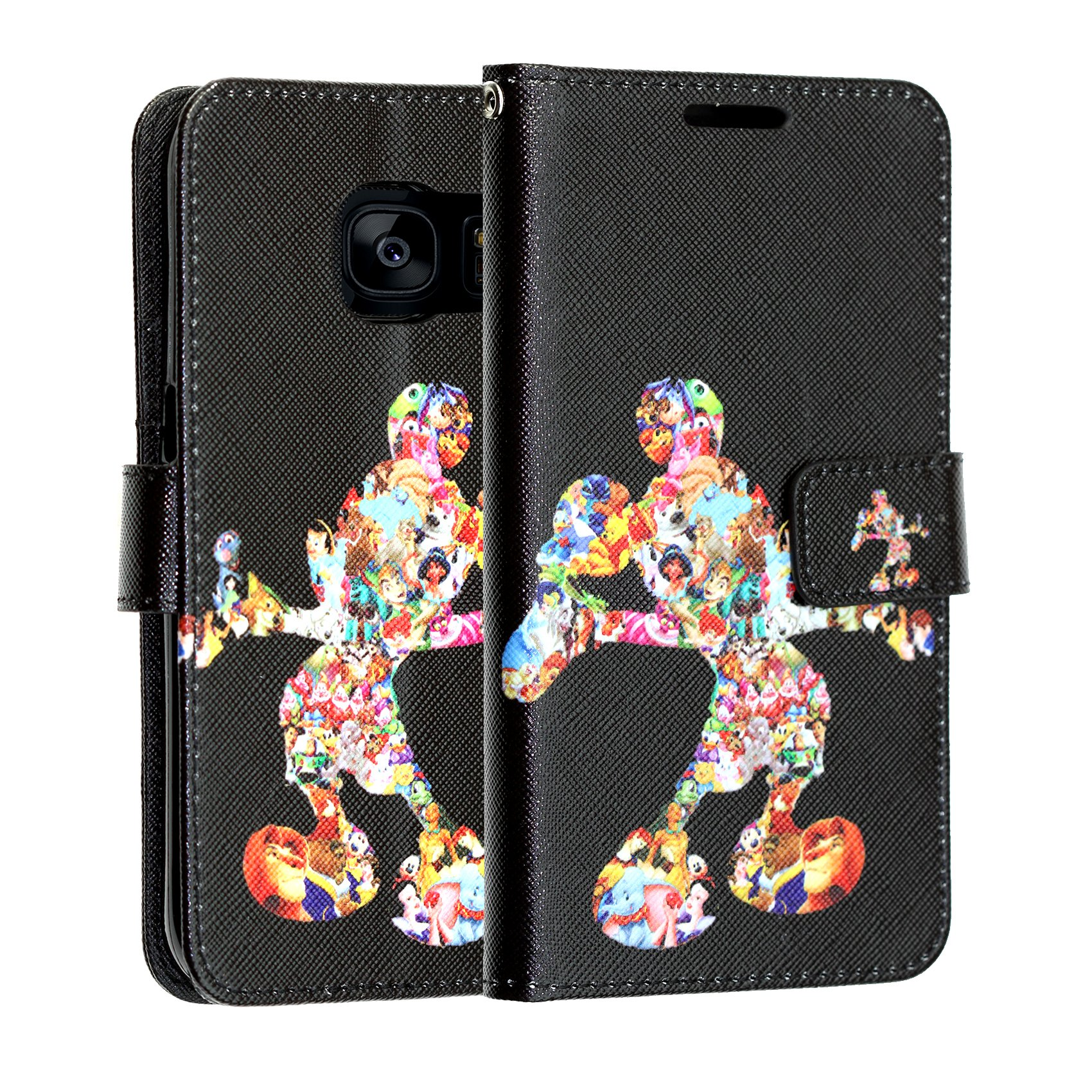 Galaxy S8 PLUS Wallet Case, DURARMOR Vintage Black Mickey Mouse Leather Folio Wallet Case with ID Credit Card Cash Slots Flip Stand Cover Case for Galaxy S8 Plus, Mickey Mouse