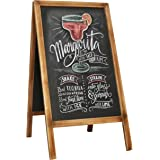 Rustic Brown Wood Sidewalk A-Frame Double Sided Chalkboard Sign, Sandwich Memo Board
