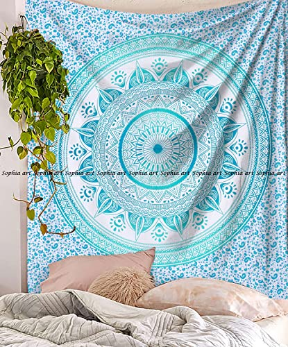 Sophia-Art Indian Mandala Hippie Tapestries Wall Hanging Unique Indian Tapestry Hippy Mandala Beautiful Handmade Bedspread Wall Decor Queen Tapestry Turquoise Trident, 86 x 94