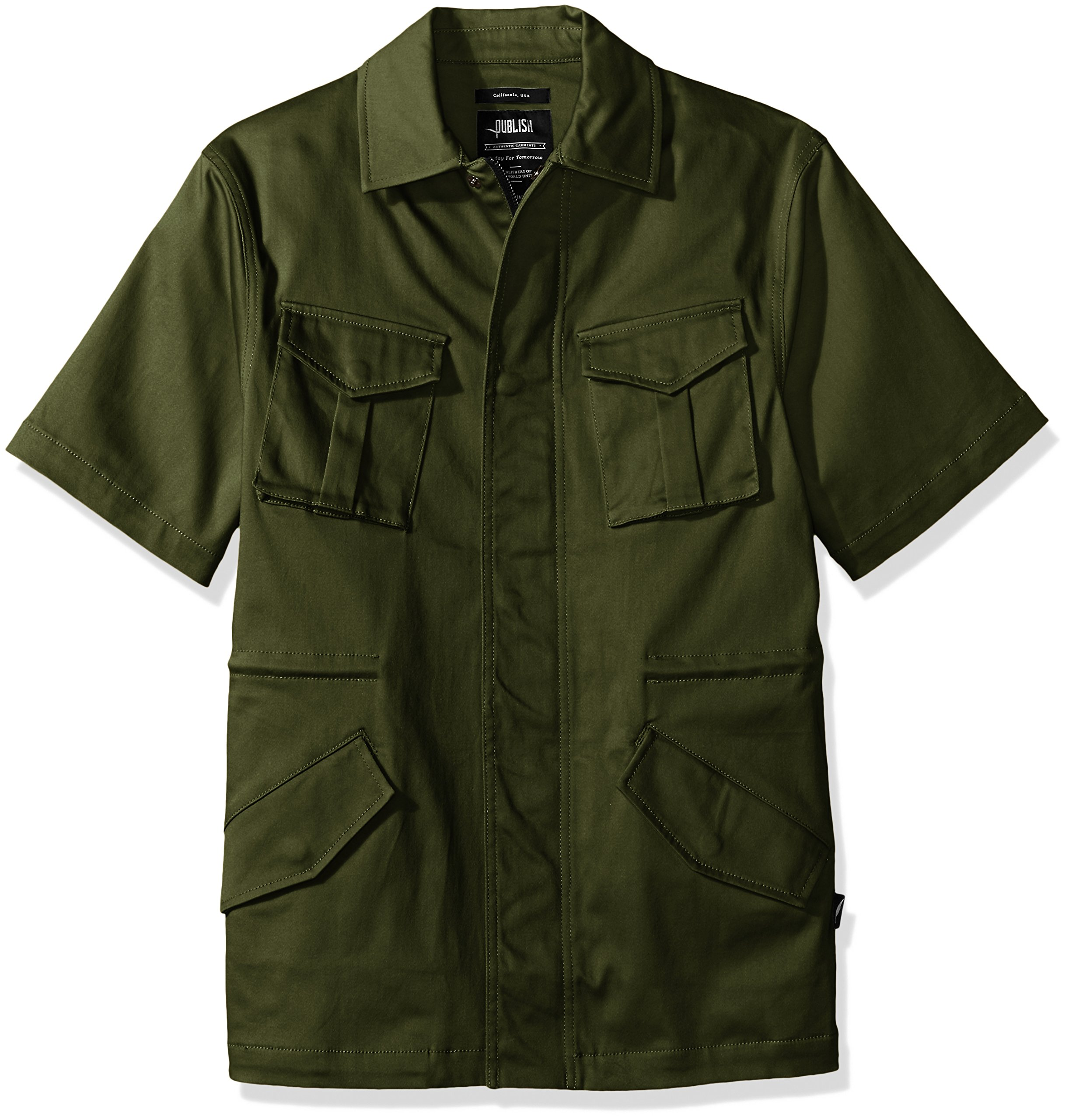 PUBLISH BRAND INC. Men's Kayden Button Down Utility Shirt, Olive, XXX-Large
