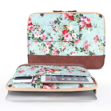 Laptop Sleeve, iCasso 13-13.3 Inch Stylish Flower Pattern Canvas Stitching Leather Briefcase Cover