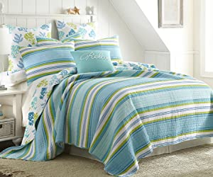 Levtex Cozumel Full/Queen Cotton Quilt Set Teal Green Stripe Coastal
