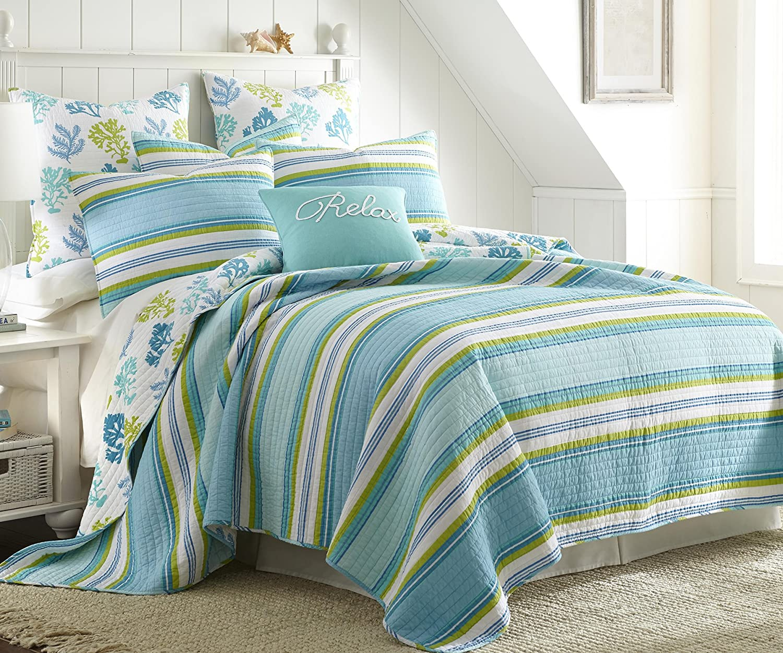Levtex Cozumel King Cotton Quilt Set Teal Green Stripe Coastal