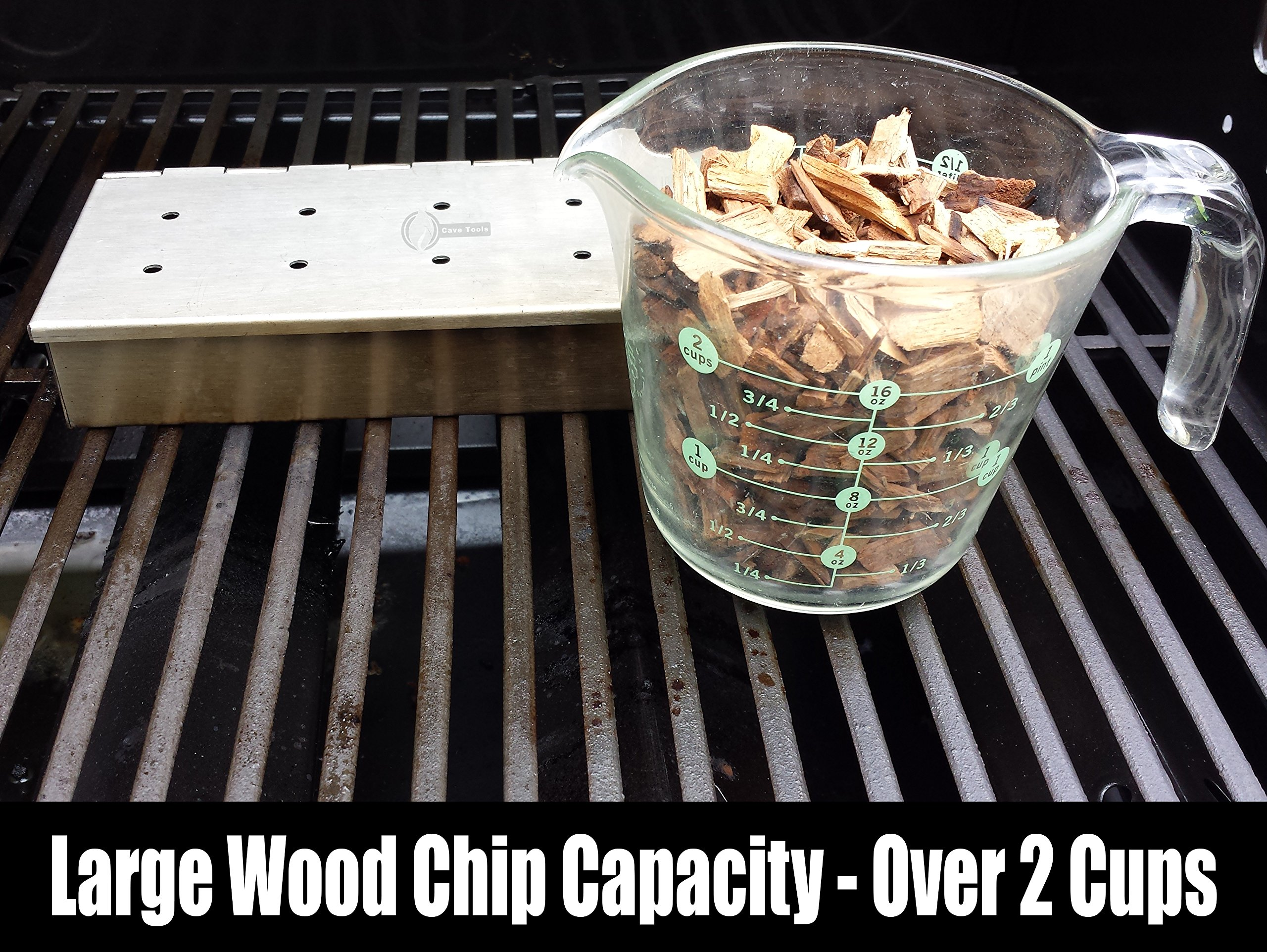 Tenderizer Mallet + Smoker Box for BBQ Grill Wood Chips - 25% Thicker Stainless Steel Won't Warp - Charcoal & Gas Barbecue Meat Smoking Hinged Lid - Grilling Accessories Gift for Dad by Cave Tools (Image #2)